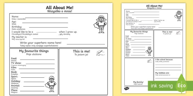 All About Me Worksheet / Activity Sheet English/Polish - All