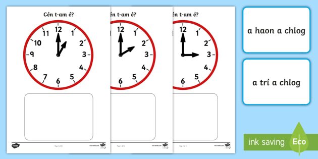 Clock Match O'Clock Game Gaeilge - ROI, Gaeilge, Irish, Time, Clocks, O'Clock, Am, An t-am, clog, Irish