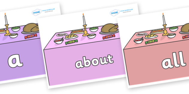 100 High Frequency Words on Christmas Dinner (Tables) - High frequency words, hfw, DfES Letters and Sounds, Letters and Sounds, display words