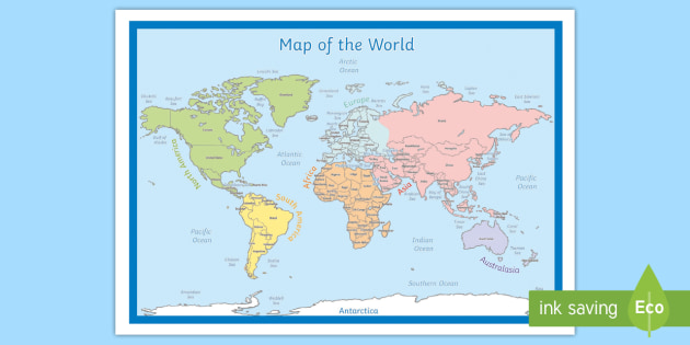 KS2 Labeled World Map Poster - Primary Resources