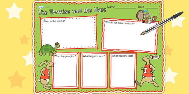 The Tortoise and The Hare Book Review Writing Frame - book, story