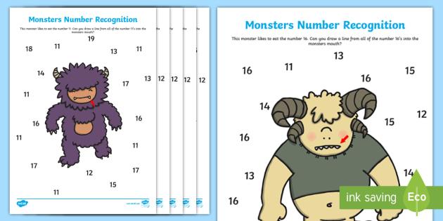 Monster Themed Number Recognition 11 20 Worksheet Monster