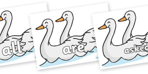 Tricky Words on Swans - Tricky words, DfES Letters and Sounds, Letters and sounds, display, words
