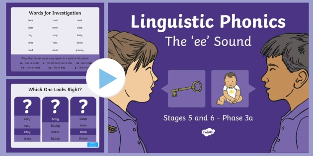 Northern Ireland Linguistic Phonics Stage 5 and 6 Phase 3a, 'ee' Sound PowerPoint