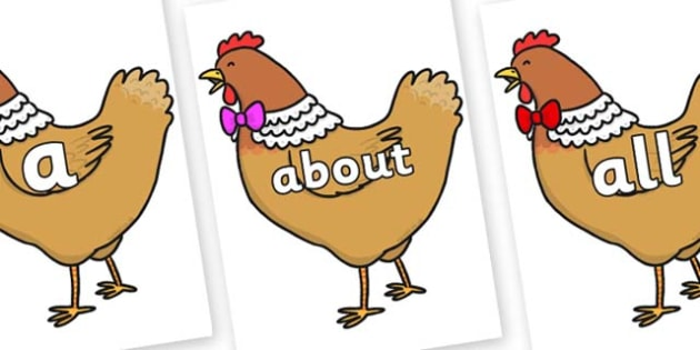 100 High Frequency Words on Henny Penny - High frequency words, hfw, DfES Letters and Sounds, Letters and Sounds, display words