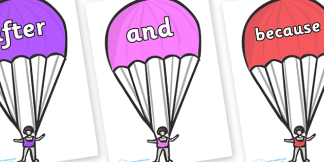 Connectives on Parachutes - Connectives, VCOP, connective resources, connectives display words, connective displays