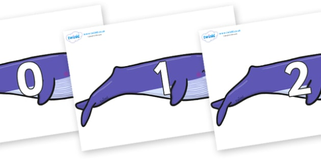 Numbers 0-50 on Whales - 0-50, foundation stage numeracy, Number recognition, Number flashcards, counting, number frieze, Display numbers, number posters