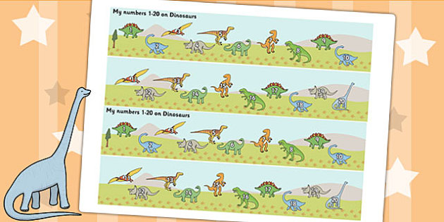 1-20 on Dinosaurs Number Strips - Maths, Math, number track, dinosaur, Numberline, Number line, Counting on, Counting back, counting, t-rex, stegosaurus, raptor, iguanodon, tyrannasaurus rex