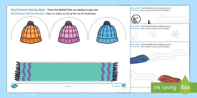 NEW * Winter Pencil Control Activity Sheets English/Afrikaans