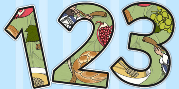 Rosh Hashanah Themed Display Numbers - rosh hashanah, display
