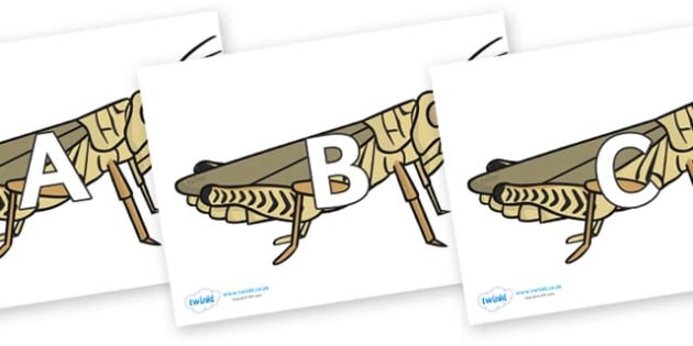 A-Z Alphabet on Grasshoppers - A-Z, A4, display, Alphabet frieze, Display letters, Letter posters, A-Z letters, Alphabet flashcards