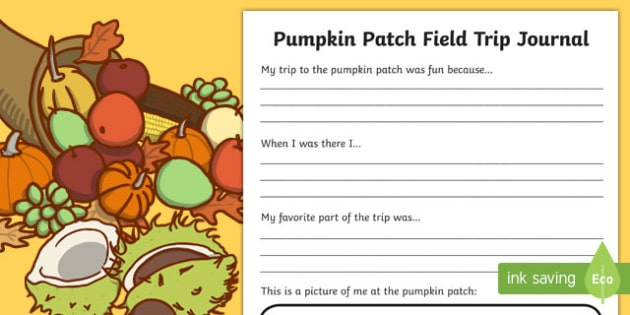 Pumpkin Patch Field Trip Journal Writing Activity Sheet