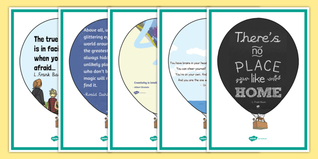 New Reading Corner Quotes On Hot Air Balloons Display Posters
