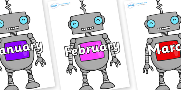Months of the Year on Robots - Months of the Year, Months poster, Months display, display, poster, frieze, Months, month, January, February, March, April, May, June, July, August, September