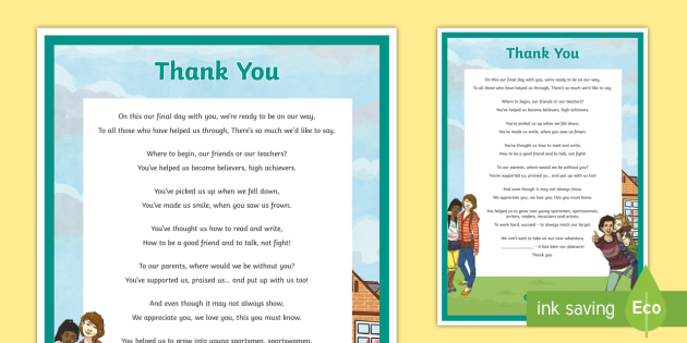 6th Class Graduation Thank You Poem Ceremony Transition