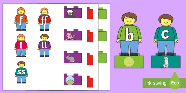 Phase 2 Toy Figures Phonics Matching Game - EYFS, Early Years, Toys, building blocks, building bricks, Lego, Letters and Sounds, Phonics, Phase