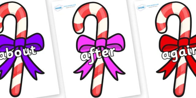 KS1 Keywords on Candy Canes (Bows) - KS1, CLL, Communication language and literacy, Display, Key words, high frequency words, foundation stage literacy, DfES Letters and Sounds, Letters and Sounds, spelling