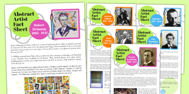 Abstract Artist Fact Sheets - abstract, artists, fact, sheets