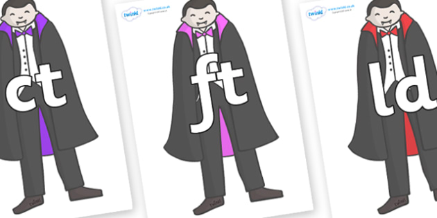 Final Letter Blends on Vampires - Final Letters, final letter, letter blend, letter blends, consonant, consonants, digraph, trigraph, literacy, alphabet, letters, foundation stage literacy