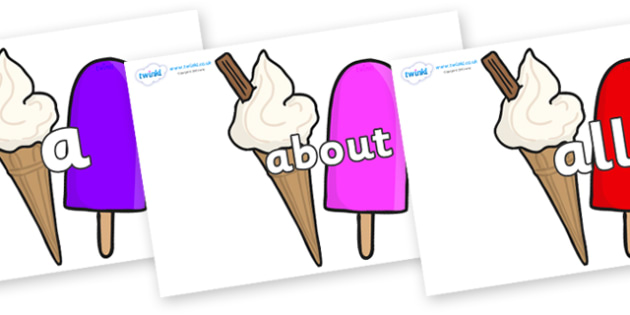 100 High Frequency Words on Ice Cream and Lollies - High frequency words, hfw, DfES Letters and Sounds, Letters and Sounds, display words