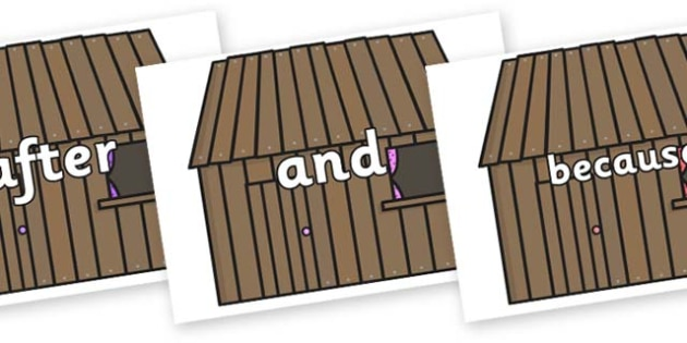 Connectives on Wooden Houses - Connectives, VCOP, connective resources, connectives display words, connective displays
