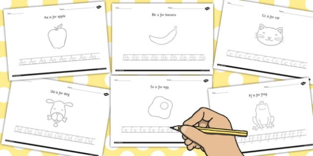 Alphabet Picture and Letter Tracing Worksheet - alphabet, tracing, picture