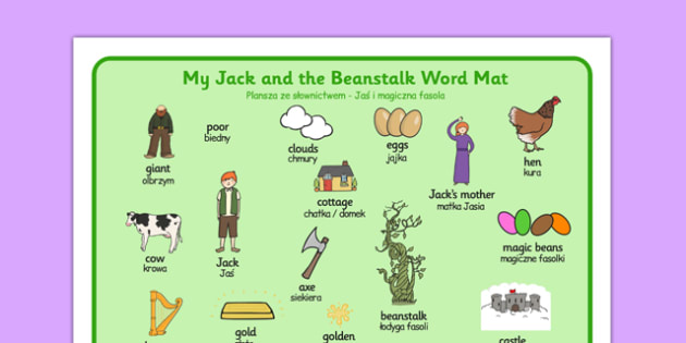 Jack and the Beanstalk Word Mat Polish Translation - traditional tale, classroom, writing, visual, aid, primary, literacy
