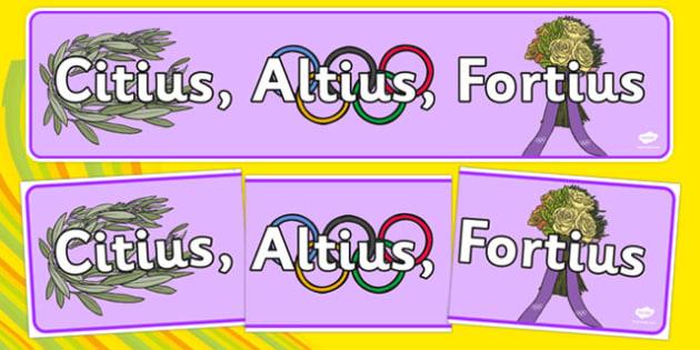 Olympic Slogan Latin Banner - the olympics, rio olympics, 2016 olympics, rio 2016, olympics, slogan, latin, display banner