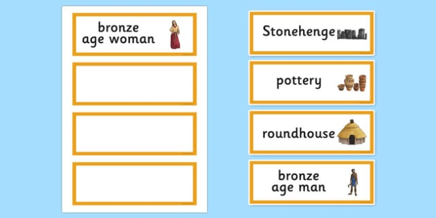 Bronze Age Word Cards - bronze age, word cards, keywords, history
