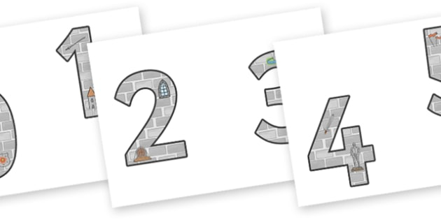 0-9 Display Numbers (Castles & Knights) - Display numbers, 0-9, numbers, display numerals, Castles, Knights, display lettering, display numbers, display, cut out lettering, lettering for display, display numbers