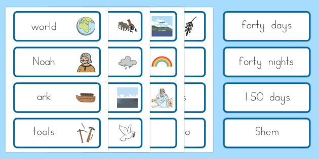 Noah's Ark Word Cards - usa, america, Noah's Ark, word cards, cards, flashcards, noah, tools, ark, animals, rain, rainbow, flood, dove, land