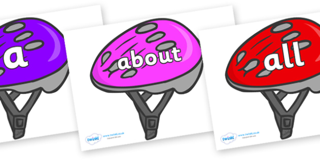 100 High Frequency Words on Bike Helmets (Multicolour) - High frequency words, hfw, DfES Letters and Sounds, Letters and Sounds, display words
