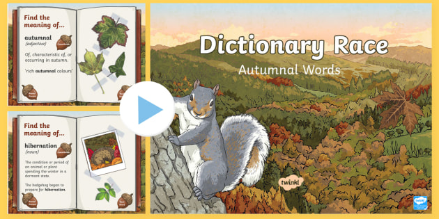 * NEW * Autumnal Words Dictionary Race PowerPoint Game