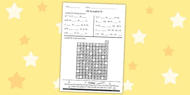 Counting in 7 Worksheet - counting, maths, 7, worksheet, ks2