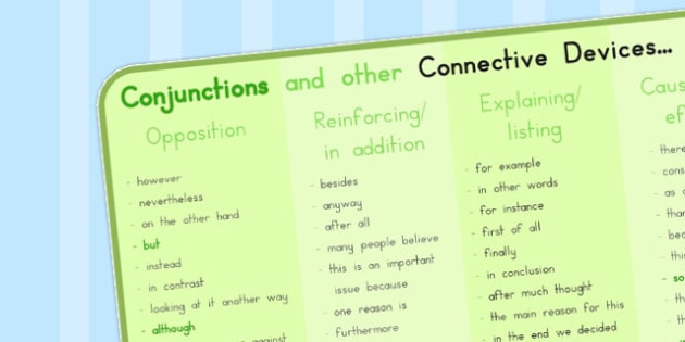Conjunctions Connective Devices Word Mat - australia, Connectives