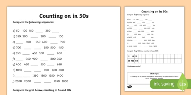 in 50s Worksheet - counting, worksheet, 50, numbers