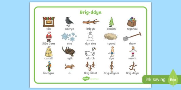 Mat Geiriau Brig ddyn (Lluniau) Mat Geiriau-brigddyn, stickman, Brig-ddyn, Nadolig, Santa, Sion, Corn, Julia, Donaldson, teulu, coed, coeden, eira, gaeaf,Welsh