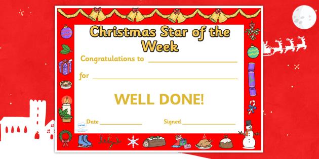 Christmas Star of the Week Certificate - christmas, christmas themed certificate, star of the week, certificate, class management, behaviour management