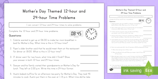 Mothers Day Themed 12 Hour And 24 Hour Time Problems Worksheet