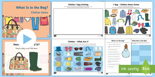 What Is in the Bag? Clothes Items Activity Pack - Listening skills