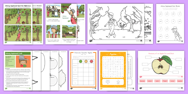 Johnny Appleseed Activity Pack - John Chapman, american pioneer, north america, fall, apple, apples,apple trees, autumn