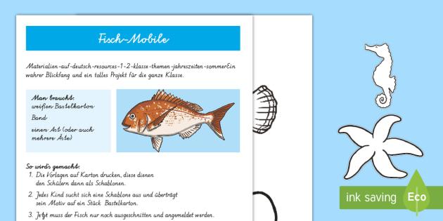 Fisch Mobile Anleitung für Lehrkräfte - Sommer, Jahreszeiten