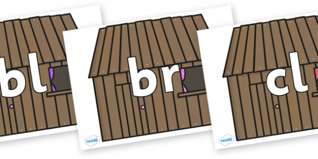 Initial Letter Blends on Wooden Houses - Initial Letters, initial letter, letter blend, letter blends, consonant, consonants, digraph, trigraph, literacy, alphabet, letters, foundation stage literacy