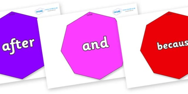 Connectives on Octagons - Connectives, VCOP, connective resources, connectives display words, connective displays