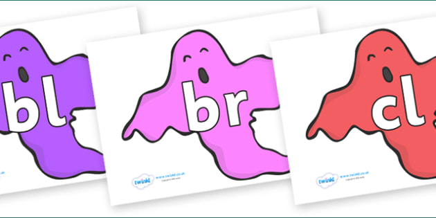 Initial Letter Blends on Ghosts (Multicolour) - Initial Letters, initial letter, letter blend, letter blends, consonant, consonants, digraph, trigraph, literacy, alphabet, letters, foundation stage literacy