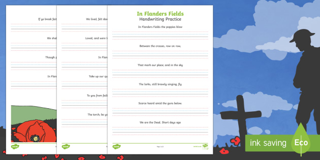 In Flanders Fields Hand Writing Activity Sheet