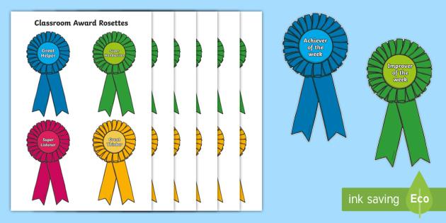 Classroom Award Rosettes - Rosette, plaque, medal, award, reward, rewards, school reward, medal, good behaviour, award, good listener, good writing, good reading