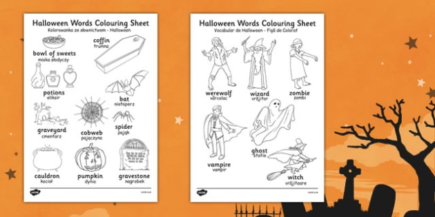 Halloween Words Colouring Worksheet Romanian Translation - romanian, halloween, hallowe'en, colour