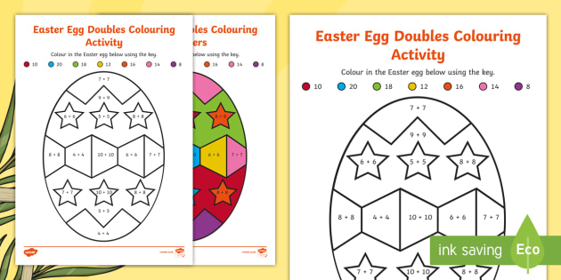 Easter Egg Doubles Colouring Activity Sheet