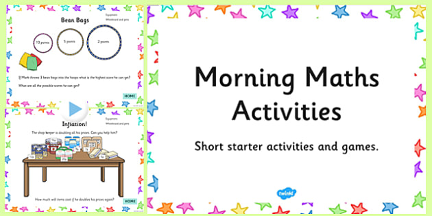 Starter of the Day - morning, maths, activities, starter